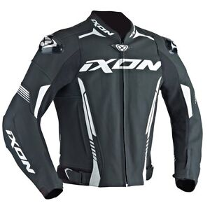 Ixon Volt Leder Schwarz/Rot/Weiß SPORTS Motorrad Jacke Zertifiziert Ce