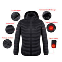 Men Heated Coat USB Electric Long Sleeves Heating Hooded Jacket Warm lot Y7aB