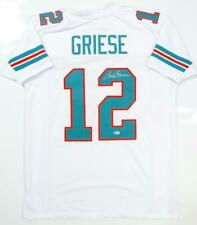Bob Griese Autographed White Pro Style Jersey- Beckett Auth *2