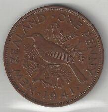 NEW ZEALAND,  1941,  PENNY,  BRONZE,  KM#13,  CHOICE EXTRA FINE