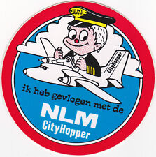 Airline Luggage Label NLM Cilty Hopper pilot drawing Dutch self-adhesive cute