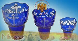 Orthodox Romanian Hand Carved Glass Cups Blue Ewiglicht Ersatzglas Ikonenampel