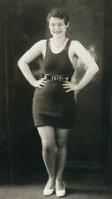 VINTAGE AMERICAN BEAUTY FLIRTY RISQUE WOMEN  BATHING SUIT PINUP SHOES PHOTO RPPC