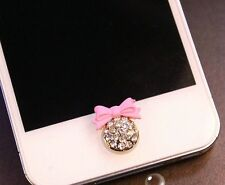 3D Pink Bowknot Bling Diamond Home Button Sticker For iPhone4,4s,5,5c,5s,6,6 +