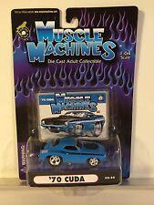 MUSCLE MACHINES 2002 Cuda 1970 PLYMOUTH Mopar BLUE Hoodscoop 89