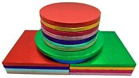 Single Colourful Cake Board Round / Square Party Thick Drum 12mm Strong Boards