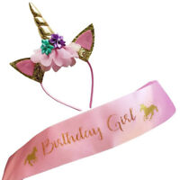 Birthday girl set of gold glitter headband and pink satin Pip RSDE