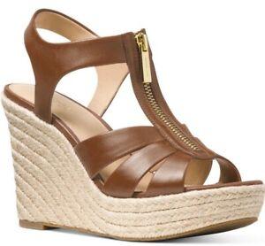 NIB Size 8 US MICHAEL KORS Berkley Luggage Brown Leather Wedge Sandal