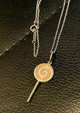 Tiffany & Co Silver Pink Enamel Lollipop Charm Pendant W/ Tiffany Chain Necklace