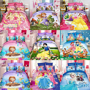 Princess for Girls Single Size Bed Quilt Doona Duvet Cover Set Bed Pillow Case