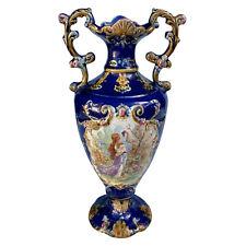 Antique Large French Rococo Cobalt Blue Porcelain Urn Vase