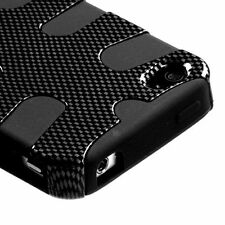For iPHONE 4 4S - HARD&SOFT RUBBER HYBRID SKIN CASE BLACK CARBON FIBER FISHBONE