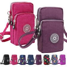 3-Layers Zipper Small Crossbody Bag Mini Pouch Purse Smartphone Wallet For Women