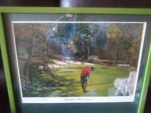 """Tiger Woods """"13th Hole Augusta""""  Framed & Matted  L.E. Lithograph"""
