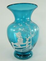 Fenton Art Glass Vase ~ Signed by Nancy Fenton Hand Painted Mary Gregory Style