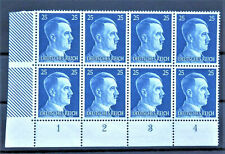 WW2 REAL HITLER 3rd REICH ERA GERMAN BLOCK OF 8 STAMPS WITH MARG.MNH 25 rf