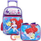 """Little Mermaid Ariel School Roller Backpack 16"""" Large with Lunch Bag 2pc Set"""