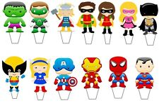 """13 x 3"""" Marvel super hero minus stand up edible Party cupcake toppers PRE-CUT*"""