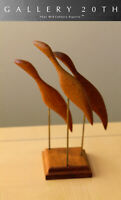 ATOMIC MID CENTURY MODERN ABSTRACT BIRDS TEAK SCULPTURE! VTG 50S 60S DANISH ART