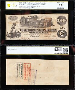 *SCARCE* CHOICE UNC T-39 1862 $100 TRAIN Confederate CSA Note PCGS 63! FREE SHIP