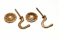 NEW CURTAIN TIE HOLD BACK HOOKS ROSETTE AND PLATE SOLID BRASS (PACK OF 3 PAIRS)