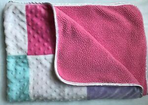 Circo Patchwork Squares Minky Dots Pastel Multi Pink Sherpa Baby Blanket Target