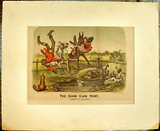 "Original 1885 Currier & Ives Lithograph: ""THE COON CLUB HUNT - Taking a Header"""