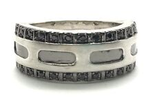Men's Sterling Silver 925 Black Onyx Pave Wide Matte Stripe Belt Band Ring 10.75