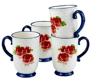 Pioneer Woman Heritage Floral Mugs Cups 4-Pc 18oz Red Rose Blue Vintage Style