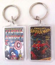 "Marvel Spider-Man & Captain America 1.25"" x 2"" Key-Chain Key-Ring 2 Piece Set"