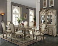 Old World Antique White 7pcs Dining Room Set NEW Rectangular Table & Chairs IACA