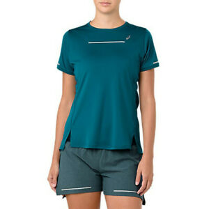 Asics Womens Lite-Show Running T Shirt Tee Top Blue Sports Breathable Reflective