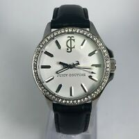 Juicy Couture Womens White Dial Black Leather Strap Wrist watch