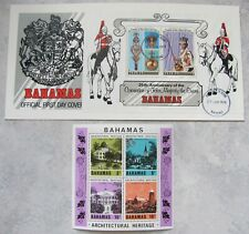 Vintage BAHAMIAN Postage Stamps: ARCHITECTURE + QUEEN'S CORONATION COVER