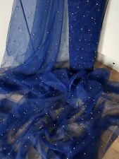 1m navy blue new tulle fabric gold pearl beaded  bridal Wedding fabric 45 wide
