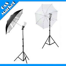 2Pcs Light Stand + Flash Mount Bracket B + Translucent Black/Silver Umbrella Kit