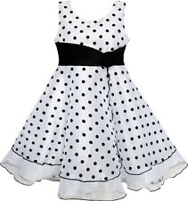 Flower Girl Dress Black White Dot Tulle Party Pageant Size 4-12 Formal Pricess