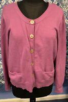 J JILL Extra Large Petite XLP Pinkish Purple Cotton Blend Cardigan Sweater