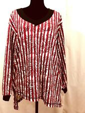 NWT Stitching Company HANDMADE Ethical Sweater XXL Boho Floral Stripe Red White
