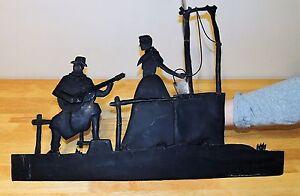 Man Serenades women at Well - Wrought Metal Art Cowboy Guitar Music Wall Decor
