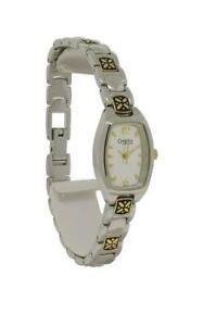 Caravelle by Bulova 45L010 Women's Silver & Gold Tone Tonneau Analog Watch