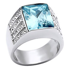 Aquamarine & Topaz Cocktail Band Ring 14k White Gold Over Sterling Silver