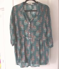 Gorgeous Dragonfly Green Mix Cat Design Top by White Stuff -  Size  14