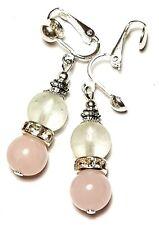Short Silver Rose Quartz & White Clip On Earrings Glass Bead Drop Dangle