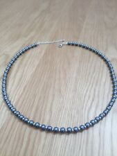 Fashion Steel Grey Plastic Pearl Bead Necklace Max 22 Inches