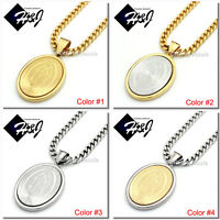 "18-36""Stainless Steel 4.5mm Gold/Silver Cuban Curb Chain VIRGIN MARY Pendant*P26"