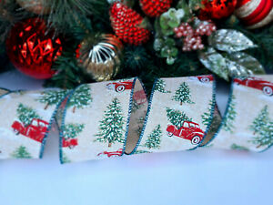 CHRISTMAS WIRED EDGE RIBBON 2.5 IN WIDE X-MAS TRUCK WRAP GIFT WRAPPING BULK