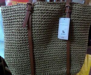 Large Summer Straw Shoulder Woven Bag Tote Handbags NWT