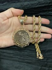 Yellow Gold Plated Filigree Design Mexican Coin Centenario Pendant & Rope Chain