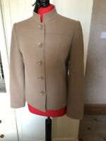 VIYELLA Ladies Camel Beige Cashmere Wool Blend Boxy Blazer Jacket Size 10